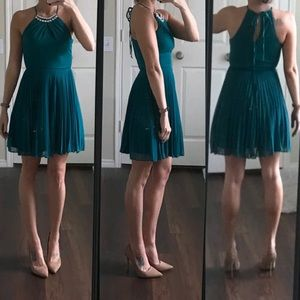 Teeze Me emerald teal crystal pleated dress